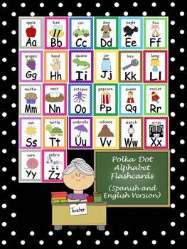 Polka Dot Alphabet Flashcards {Spanish and English Version}