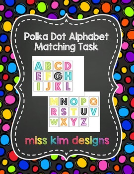 Polka Dot Alphabet Matching Folder Game for students with Autism