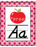 Polka Dot Alphabet Poster D'Nealian Style Font