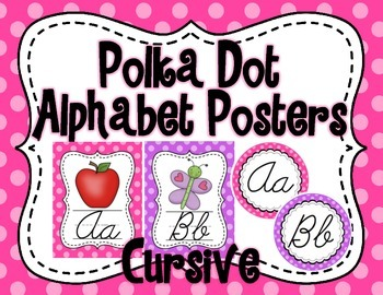 Polka Dot Alphabet Poster Set (Cursive)