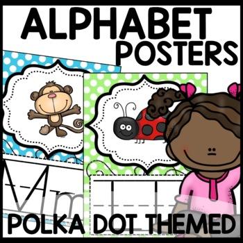 Polka Dot Alphabet Posters (Polka dot turquoise, pink, purple, lime green)