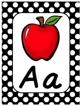 Polka Dot Alphabet Posters - D'Nealian