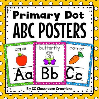 Polka Dot Alphabet Posters (Primary Dots)-Classroom Decor
