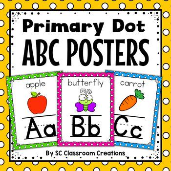 Polka Dot Alphabet Posters (Primary Dots)-Classroom Decor