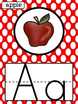 Polka Dot Alphabet Posters and Word Wall Letters