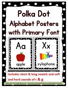 Polka Dot Classroom Decor Alphabet Posters