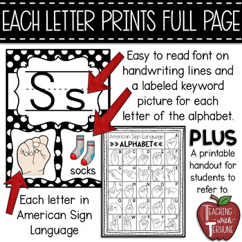 Alphabet Strip with American Sign Language {Polka Dot and Red}