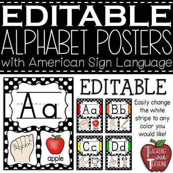 Polka Dot Alphabet Strip with Sign Language