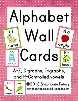 Polka Dot Alphabet Wall Cards ~ A-Z, digraphs, trigraphs, r-controlled vowels
