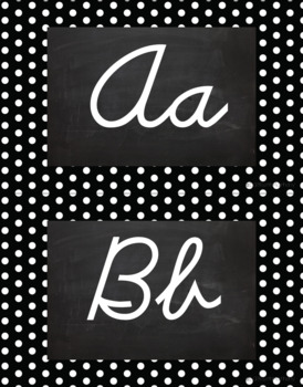 Polka Dot Alphabet Wall Cards D'Nealian - Black & White