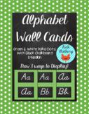 Polka Dot Alphabet Wall Cards D'Nealian - Green & White