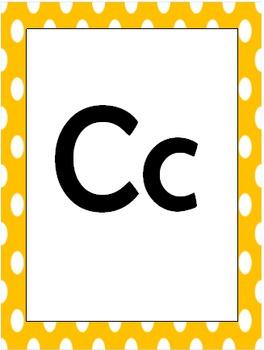 Polka Dot Alphabet Wall Cards (Editable)
