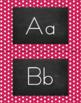 Polka Dot Alphabet Wall Cards Manuscript & Cursive - Berry Pink & White