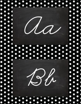 Polka Dot Alphabet Wall Cards Manuscript & Cursive - Black & White