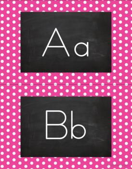 Polka Dot Alphabet Wall Cards Manuscript & Cursive - Bright Pink & White