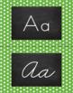Polka Dot Alphabet Wall Cards Manuscript & Cursive - Green & White