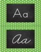 Polka Dot Alphabet Wall Cards Manuscript & Cursive - Green & White