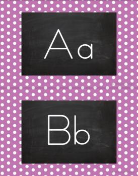 Polka Dot Alphabet Wall Cards Manuscript & Cursive - Light Purple & White