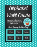 Polka Dot Alphabet Wall Cards Manuscript & Cursive - Turquoise & White