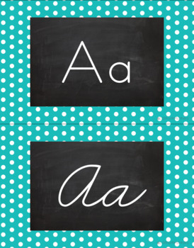 Polka Dot Alphabet Wall Cards Manuscript & Cursive - Turquoise & White