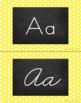 Polka Dot Alphabet Wall Cards Manuscript & Cursive - Yellow & White