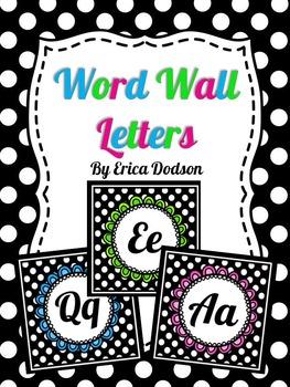 Black & White Polka Dot Alphabet Word Wall Letters:  3 Set