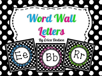Black & White Polka Dot Alphabet Word Wall Letters: 3 Sets! {Dotty Font}
