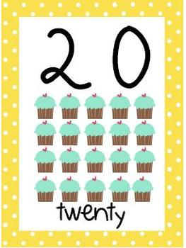Polka Dot Number and Number Word 1-20 wi Posters