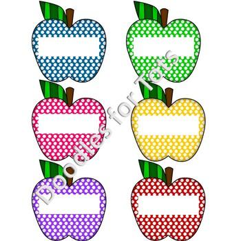 "Polka Dot Apple Labels-Bright & Retro-4"" Labels"