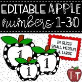 Editable Apple Numbers 1-30 {Polka Dot}