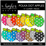 Polka Dot Apples 1 Clipart {A Hughes Design}