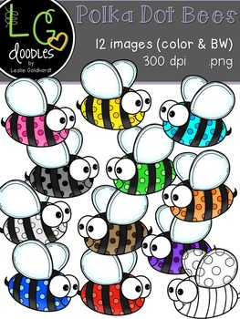 Polka Dot BEE Clip Art ~ by LG Doodles