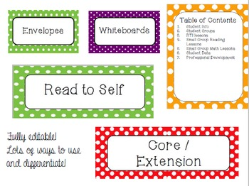 Polka Dot Back to School Labels Bundle