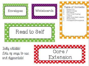 Polka Dot Back to School Labels Bundle