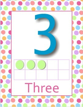 Polka Dot Background Number Posters with 10 dot frames