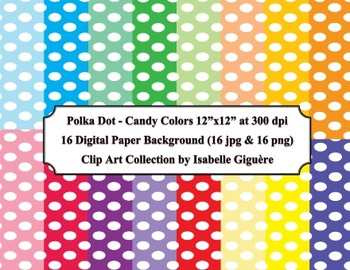 Digital Papers - 16 Polka Dot Candy Colors (Commercial Use)