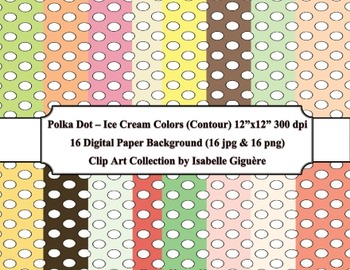 Digital Papers - 16 Polka Dot Ice Cream Colors (Contour-Commercial Use)
