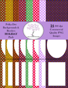 Polka Dot Backgrounds and Borders HOLIDAY Pack