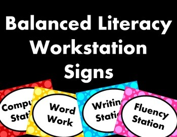 Polka Dot Balanced Literacy Workstation Signs