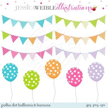 Polka Dot Balloons & Banners Cute Digital Clipart, Balloon Clip Art