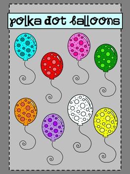 Polka Dot Balloons {clip art}