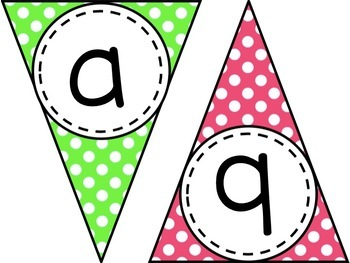 Polka Dot Banner - Letters A-Z and Numbers 0-9 with EDITABLE version