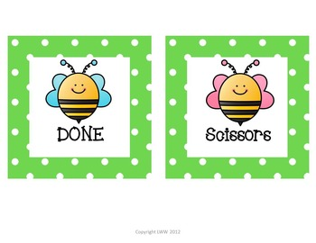 Polka Dot Bee Labels for  Word Wall, Classroom Library, and Classroom