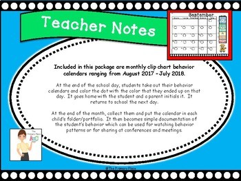 Polka Dot Behavior Clip Chart Home-School Calendars 2017-2018 - 5 Level Edition