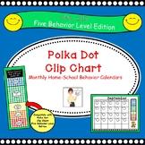 Polka Dot Behavior Clip Chart Home-School Calendars 2018-2019 - 5 Level Edition