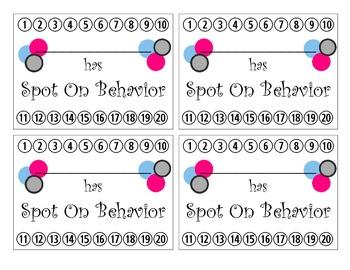 Polka Dot Behavior Reward Punch Card