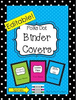 Polka Dot Binder Covers Editable!