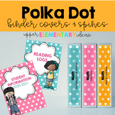 Polka Dot Binder Covers and Spines EDITABLE
