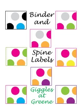 Polka Dot Binder and Spine Labels