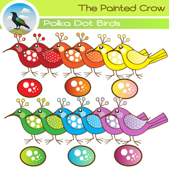Polka Dot Birds and Eggs Clipart - 21 piece set